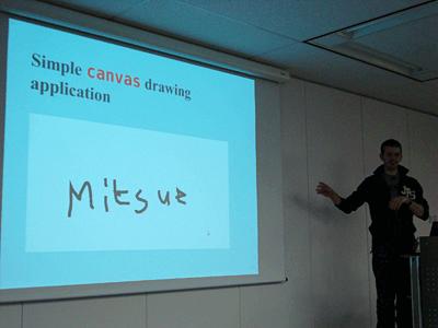 Canvasのデモのなかで「Mitsue」と記したKesteren氏